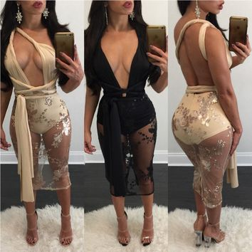 HOT!  Sexy See Through Lace Bodycon Bandage Dress