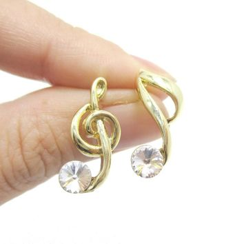 Treble Clef Quaver Note Shaped Stud Earrings with Rhinestones