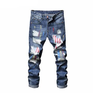 Straight American Flag Pattern Patched Slim Fit Denim Pants