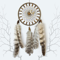 Native american dream catcher, Beige dreamcatcher with owl feathers, Ethnic wall hanging, Boho home decor, Tribal wall art, Rustic decor