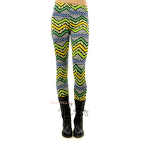Parrotsville Lime Green Tribal Aztec Leggings
