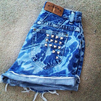 Splatter bleach high waisted shorts