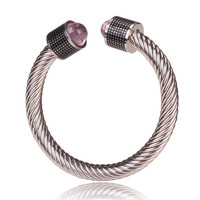 David Yurman Style Cable Bracelet Black Barrel with Pink Crystal Gem