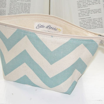Small Wide Zipper Pouch, Handmade with Blue & Natural Chevron Duck, Perfect for cosmetics, knitting, cross stitch, toiletries
