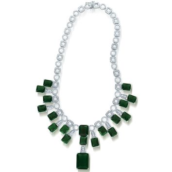 Collette Z C.Z. Sterling Silver Rhodium Plated Heavy Emerald Necklace | Overstock.com Shopping - The Best Deals on Cubic Zirconia Necklaces