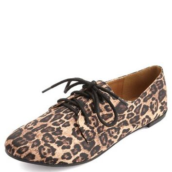 Satin Leopard Oxford Flat: Charlotte Russe