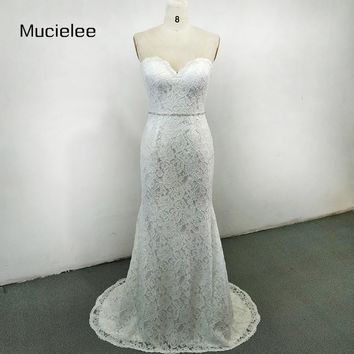 Mucielee Sweetheart Lace Mermaid Wedding Dresses With Beads Belt Simple Cheap Beach Wedding Dress 2018 Bridal Gowns Casamento