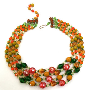 Four Strand Glass Bead Necklace, Orange Green Honey Hyacinth, 1940s 1950s