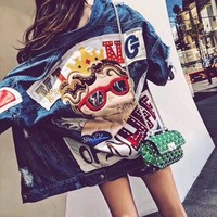 """Gucci"" Women Casual Fashion Embroidery Decoration Long Sleeve Cardigan Denim Jacket Coat Loose Tops"