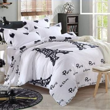 Black White Eiffel Tower Duvet Quilt Cover With Pillow Case Bedding Set Or Flat