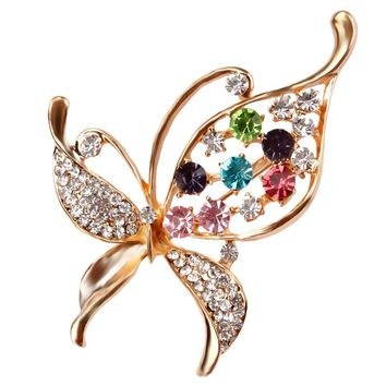 lot of 2 pcs Crystal Rhinestones Assorted Butterfly Brooch Pins Fashion Costume Jewelry for Women or Girls