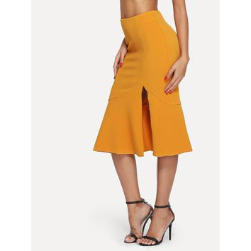Ginger Slit Front Fishtail Hem Skirt