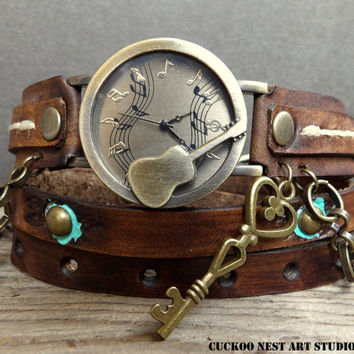Wrap Watch. Leather Wrap Watch. Vintage Inspired Leather Watch, Womens Watch, Watch, Womens Gift. Bracelet Watch, Guitar watch