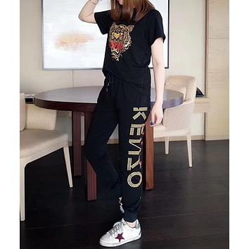 """KENZO"" Women Casual Fashion Tiger Head Pattern Embroidery Short Sleeve Trousers Set Two-Piece Sportswear"