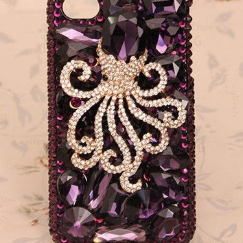 3D Luxury Purple Rhinestone Crystals Octopus iPhone 4/4s DIY phone case set DIY cell phone case deco kit (Phone Case not Included)