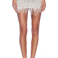 Haute Hippie Ponte Embellished Mini Skirt with Feathers in Beige
