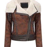 Brown Zippered Jacket in Shearling