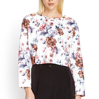 FOREVER 21 Boxy Floral Print Top Cream/Multi