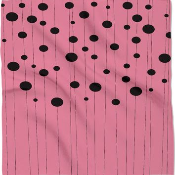 Bubbles on strings bandana, stylish black and pastel pink pattern kerchief, minimalist design