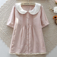 The new summer dresses 2015 Japanese small and pure and fresh bud silk double doll cotton short sleeve baby shirt