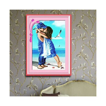 Seaside Cuople Cross Stitch Boy Girl Seaside Romantic Kiss Innocence of Childhood Friends Landscape Diamond Painting