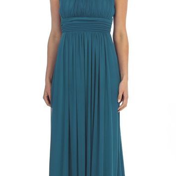 Celavie 6283 Grecian Beaded Neckline Long Formal Dress Teal