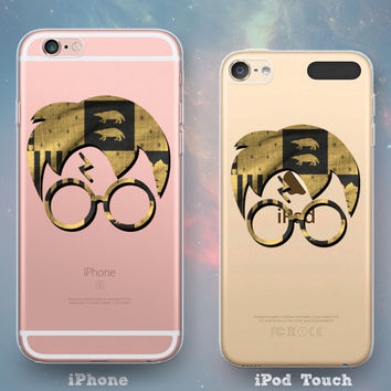 House Hufflepuff Crest Flag Glasses & Scar Harry Potter Clear See-Through Rubber Case for iPhone 7 6s 6 Plus iPhone SE 5s 5 5c iPod Touch