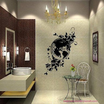 Flowered Earth Nature Globe World Wall Art Sticker Decal Ar412