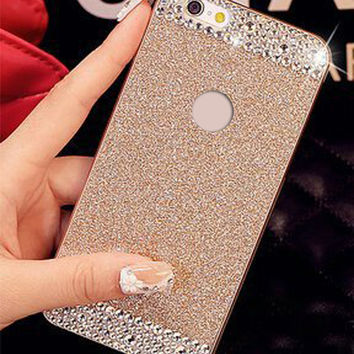 Glitter powder Rhinestone bling phone case for iPhone 4 4s 5 5s 6 6s 6s 6Plus 6sPlus diamond crystal Hard back cover Sparkle