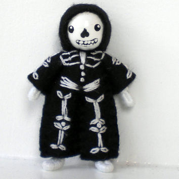 Skeleton Bendy Doll by Princess Nimble-Thimble, Waldorf Halloween Nature Table Figure Decor