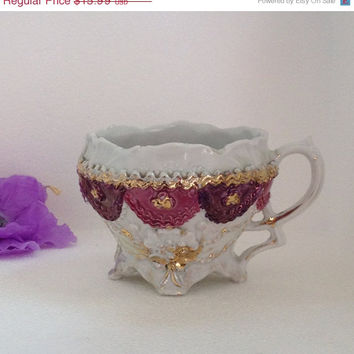 On Sale Antique Teacup Germany Flower Shaped, Footed, Embossed Porcelain, Applied Ruffled Decoration, Purple Luster, Gold Gilt