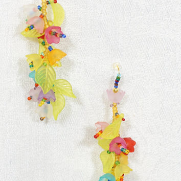 Rainbow summer colors, flowers, leves, unique bright handmade long dangle earrings of seed beads and acrilic beads