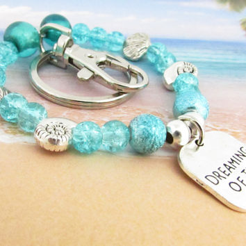 Beach Quote Wrist Keychain