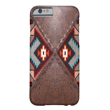 Tooled Brown Leather and Tribal Print Barely There iPhone 6 Case