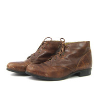 Brown leather ARIAT boots Hipster Boho Lace Up ankle boots Shoes Size Women's 9.5 10