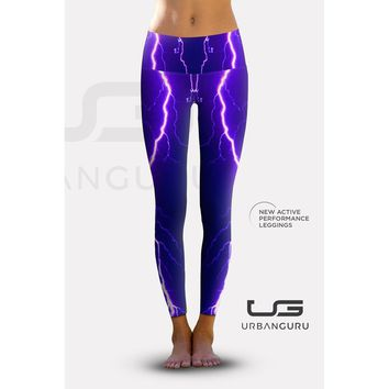 2nd Gen. Violet Lightning, Eco-Friendly Active Performance Leggings