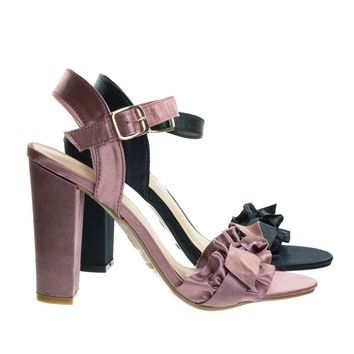 Frenzy28 Mavue Pink By Bamboo, Satin Ruffle Bow Sandal On Chunky Block Heel. Open Toe Dress Shoe