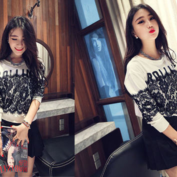 Casual Floral And Letter Embroidered Long Sleeve Sweater