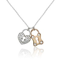 14K Rose Gold 1.2TCW Pave Russian Lab Diamond Heart & Lock Necklace Pendant