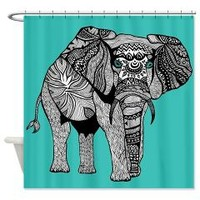 Tribal Turquoise Elephant Shower Curtain> Pom Graphic Design