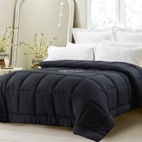 SUPER OVERSIZED-HIGH QUALITY-DOWN ALTERNATIVE COMFORTER- FITS PILLOW TOP BEDS - BLACK
