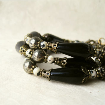 Black Gemstone Bracelet. Handmade Dalmatian Jasper, Czech Glass + Natural Pyrite Stone Bracelet. Unique Handmade Beaded Bracelet.