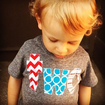 Circus birthday shirt two lowercase elephant birthday theme turquoise aqua red birthday outfit triblend grey boys 2nd Birthday Shirt dots