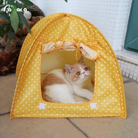 Home Portable Foldable Cute Dots Pet Tent Playpen Outdoor Indoor Tent For Kitten Cat Small Dog Puppy Kennel Tents Cats Nest Toy