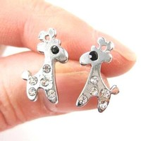 Adorable Giraffe Shaped Stud Earrings in Silver with Rhinestones