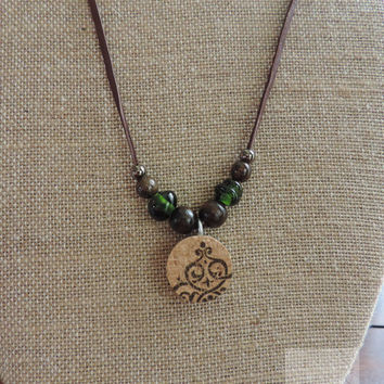 Repurposed wine bottle Wine cork necklace Beaded jewelry Unique necklace Long necklace (N056)