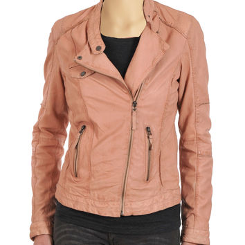 Women's Pink double breasted leather jacket