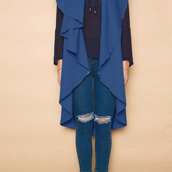 Sleeveless Long Coat with Turndown Collar