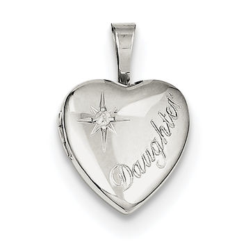 Sterling Silver Rhodium-plated & Diamond Daughter 12mm Heart Locket QLS531