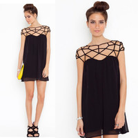 Hollow Out Novelty Black Dress